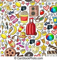 beauté, shopping., bande, vente, icônes, achats, discount., ensemble, beauté, vecteur, motifs, centre commercial, mall., mode, achats