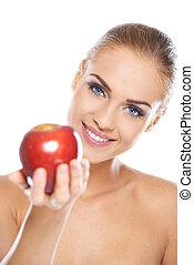 beauté, sourire, pomme, tenue, rouges