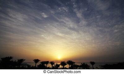 beauté, sur, timelapse, -, levers de soleil, mer, paysage