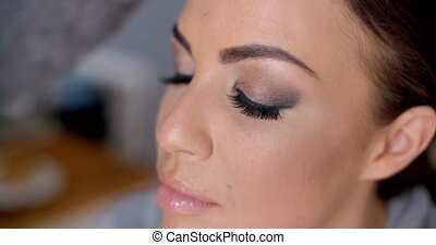 Beautician apply makeup to a model - Beautician apply makeup...