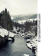 Beautifl winter mountain river in Norway