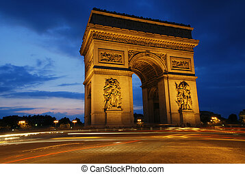 Beautifly lit Triumph Arch at night. Paris, France.