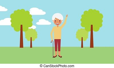 beautifu older woman with walking stick in the park...