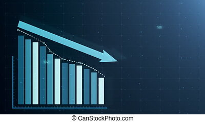 Beautiful 3D animation of a downward bar chart following the arrow trading on the stock exchange.
