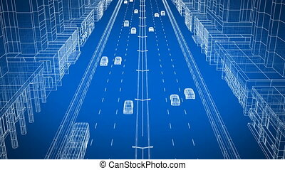 Beautiful 3d Animation of Cars Driving on Modern Abstract City Street Blue Background. Digital Blueprint City Traffic. Transport Technology Concept. 4k Ultra HD 3840x2160.