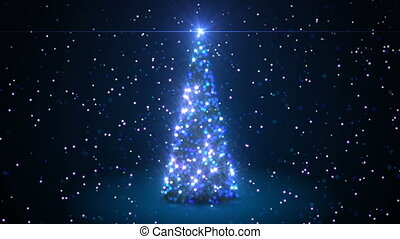Beautiful 3d Animation of Christmas Tree Creating with Particles in Blue Colors. Defocused Blur Bokeh 3d Animation. Merry Christmas and Happy New Year Concept. 4k Ultra HD 3840x2160