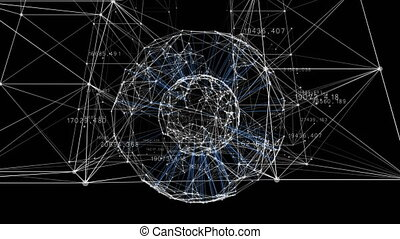 Beautiful 3d Animation of Growing Business Network Moving Through Grid with Numbers and Graphs. Global Business and Technology Concept. Looped Animation 4K Ultra HD