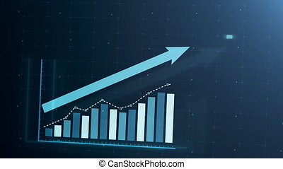 Beautiful 3D animation of rising bar graph, following the arrow, trading on the stock exchange