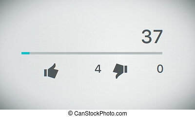 Beautiful 3d Animation of the Close-up Video Counter Quickly Increasing to 1 Million Views. Front view of the Monitor. Business and Technology Concept