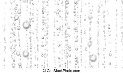 Beautiful 3d Animation of Water Bubbles Rising Up. Loopable Sparkling Water on White and Black Backgrounds.