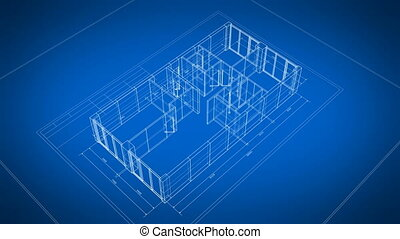 Beautiful 3d Blueprint of Building Apartments Turning on Blue Background. Last Turn is Loop-able. Looped 3d Animation of Abstract Blueprint. Construction Business Concept. 4k Ultra HD 3840x2160.