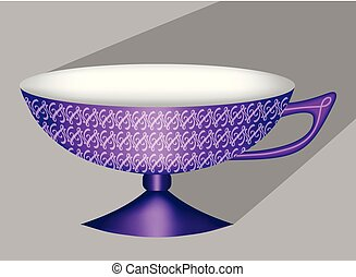 Beautiful 3d chinese tea cup in purple design with fine patterns, object with long diagonal shadow on light gray background, design element for tea room or caf