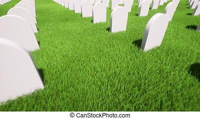 Beautiful 3d grave on grass 4k