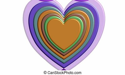 Beautiful 3d hearts in elegant nostalgic colors, tunnel ...