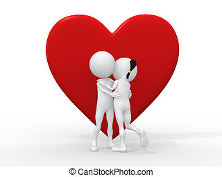 Beautiful 3d love couple embracing against a big red heart on white background