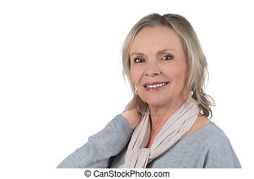 Beautiful 60s woman - 60 year old beautiful woman isolated...