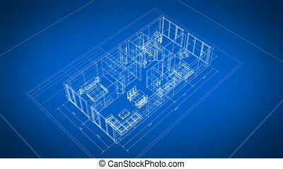 Beautiful Abstract 3d Blueprint of Building Apartments with Furniture Turning on Blue Background. Last Turn is Loop-able. Looped 3d Animation. Construction Business Concept. 4k Ultra HD 3840x2160.