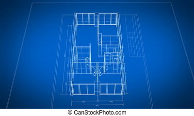 Beautiful Abstract 3d Blueprint of the Apartments Rotating on Black and Blue Seamless. Looped 3d Animation Grid Mesh. Construction Business Concept. 4k Ultra HD