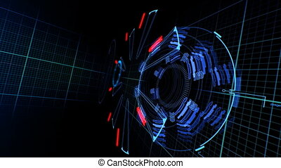 Beautiful Abstract 3D Construction with Flares. Flying Through. Head-up Display Computer Data. High Tech Concept Element. Full HD 1920x1080.