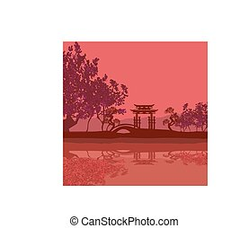 Beautiful abstract asian landscape