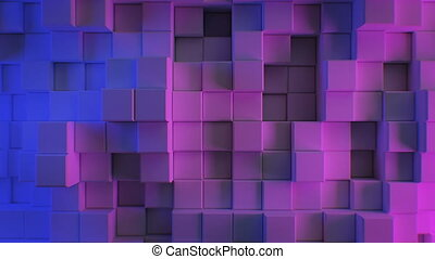 Beautiful Abstract Cubes in Blue and Purple Ultraviolet Light Looped 3d Animation. Color Wall Moving Seamless Background in 4k Ultra HD 3840x2160.