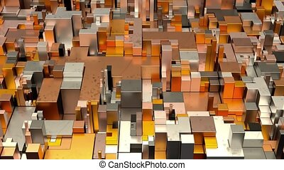 Beautiful Abstract Cubic Shapes. Seamless Loop