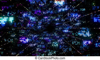 Beautiful Abstract Digital Code Data Seamless. Big Data Cloud Computing Process Illustration. Looped 3d Animation. Technological Innovations in Network Development Concept. 4k Ultra HD 3840x2160.