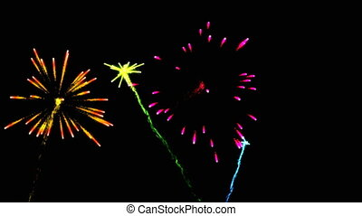 Beautiful abstract festive fireworks, art video...