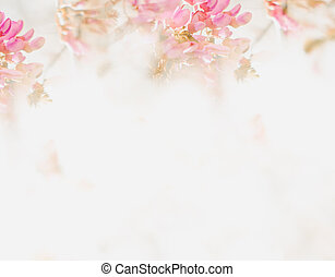 Beautiful Abstract Floral Background With Pink Flowers. Border Design Stock Photo