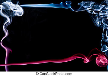 Beautiful abstract frame made ??of red and blue smoke