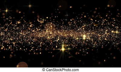 Beautiful Abstract Golden Particles Flying Seamless with Bokeh. Looped 3d Animation in Slow Motion. HD 1080.