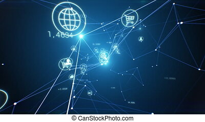 Beautiful Abstract Growing Network with Software Icons Flowing Seamless. Looped 3d Animation of Digital Icons and Links. Cyberspace Flashing Lights. E-business Concept. 4k Ultra HD 3840x2160