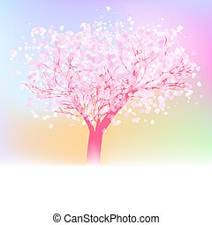 Beautiful abstract heart tree card. EPS 8