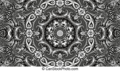 beautiful abstract image on a computer desktop made in black and white from a variety of fractal ornaments
