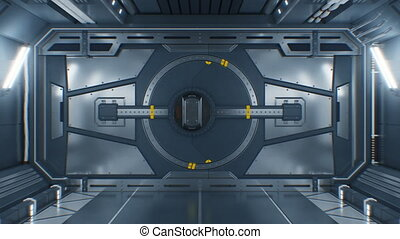 Beautiful Abstract Metal Gate Opening on Black Background. Futuristic 3d Animation with Green Screen. Steel Gateway in Spaceship with Alpha Mask. Futuristic Technology Concept. 4k UHD 3840x2160