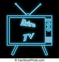 Beautiful abstract neon bright glowing icon, a signboard from an old retro tube kinescope TV from the 70s, 80s, 90s and the inscription retro tv and copy space on a black background. Vector