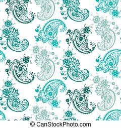 abstract ornament seamless pattern  with different elements made in vector in blue colors