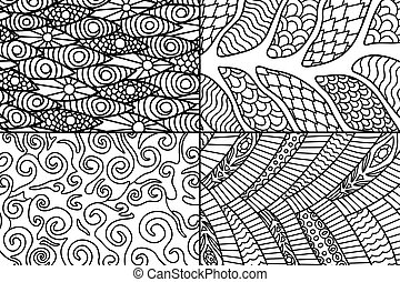 Beautiful abstract patterns for coloring book pages -...