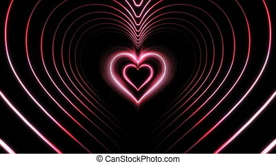 Beautiful Abstract Pink Hearts Tunnel with Light Lines Moving Fast. Set of Several Video Elements. Flying Through the Neon Background Futuristic Tunnel. Looped 3d Animation. 4K