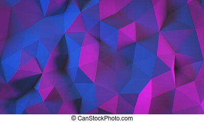 Beautiful Abstract Polygonal Surface Morphing in Blue and Purple Ultraviolet Light Looped 3d Animation. Color Wall Moving Seamless Background in 4k Ultra HD 3840x2160.