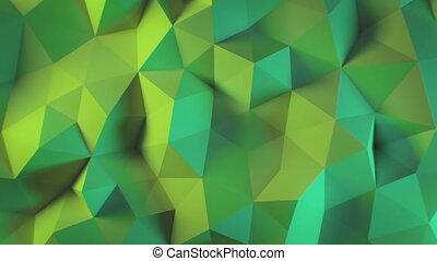 Beautiful Abstract Polygonal Surface Morphing in Multi-Colored Light Looped 3d Animation. Color Wall Moving Seamless Background in 4k Ultra HD 3840x2160.