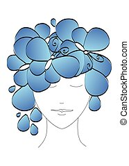 Beautiful abstract silhouette of a girl with butterflies and flowers on his head. Vector