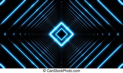 Beautiful Abstract Square Tunnel with Blue Light Lines Moving Fast. Set of Several Video Elements. Background Futuristic Tunnel with Neon Lights. Looped 3d Animation Art Concept.