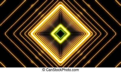 Beautiful Abstract Square Tunnel with Light Lines Moving...