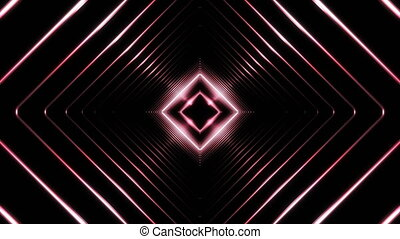 Beautiful Abstract Square Tunnel with Light Lines Moving Fast. Set of Several Video Elements. Background Futuristic Tunnel with Neon Lights. Looped 3d Animation.