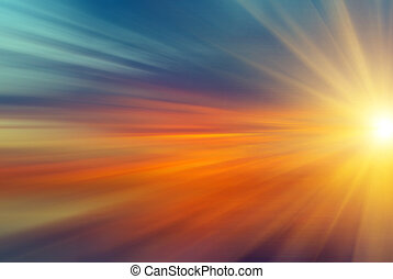sun with rays at sunset