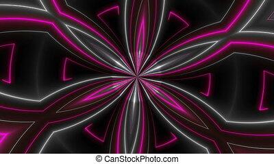 Beautiful abstract symmetry kaleidoscope with shiny neon...