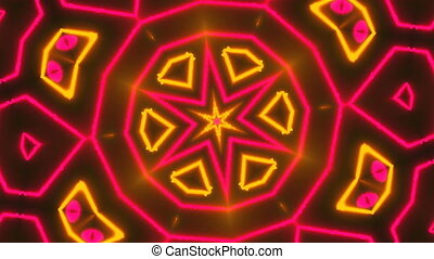Beautiful abstract symmetry kaleidoscope with shiny neon...