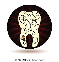 Beautiful abstract tooth illustration, seed and plant from roots, swirl ornamental design
