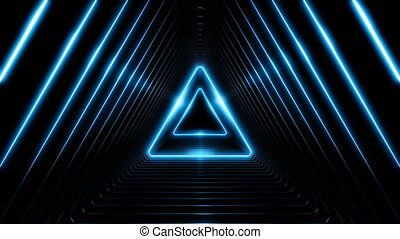 Beautiful Abstract Triangle Tunnel with Blue Light Lines Moving Fast. Set of Several Video Elements. Background Futuristic Tunnel with Neon Lights. Looped 3d Animation Art Concept.